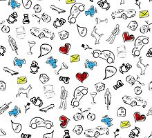 Usual life sketch seamless pattern. by sullivanthedog