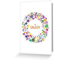Abstract round floral pattern Greeting Card