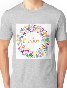Abstract round floral pattern Unisex T-Shirt