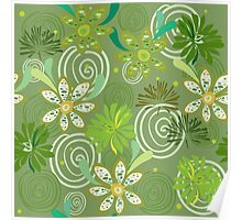 Seamless swirly green floral pattern Poster