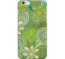Seamless swirly green floral pattern iPhone Case/Skin