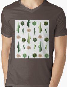 Cacti and tumbleweed seamless pattern Mens V-Neck T-Shirt
