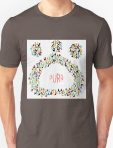 Paw shapped coloreful cats pattern Unisex T-Shirt