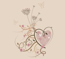 Pink Curly Heart & Butterflies T-shirt by fatfatin