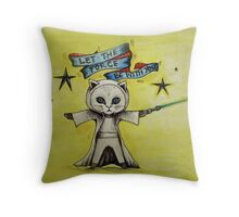 the force star kitty lightsaber  Throw Pillow