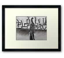 Lone Woman, Abstract Charcoal Drawing, Black & White Art Framed Print