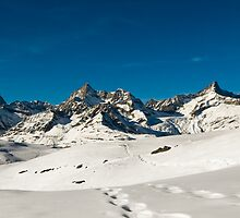 Panoramic view in winter above Zermatt by peterwey