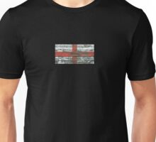 Flag of England on Rough Wood Boards Effect Unisex T-Shirt