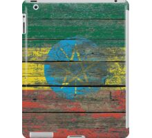 Flag of Ethiopia on Rough Wood Boards Effect iPad Case/Skin