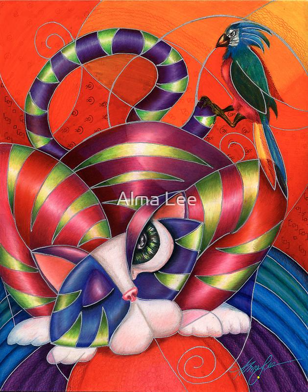 Red Aris-to-Cat Blu Blood by Alma Lee