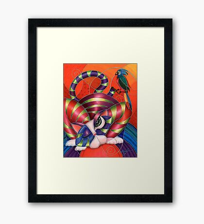 Red Aris-to-Cat Blu Blood Framed Print