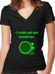 Linux sudo apt-get install tea Women's Fitted V-Neck T-Shirt