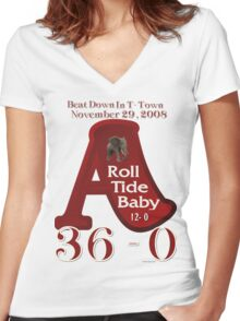 ROLL TIDE BEATS AUBURN TSHIRT 2008 Women's Fitted V-Neck T-Shirt