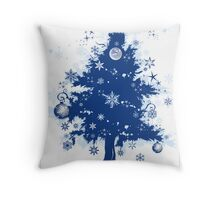 Christmas Card - Blue Decorative Christmas Tree Throw Pillow