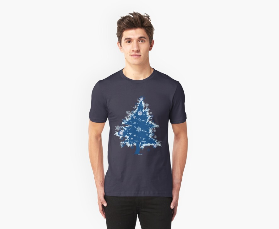 Christmas T-shirt - Blue Christmas Tree by ruxique