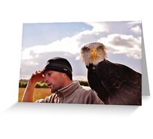 Oh, my head !!!......after a night out on the town Cedric is beginning to hallucinate - he thinks he has a Bald Eagle sitting on his arm ! Greeting Card