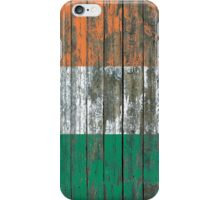 Flag of Ireland on Rough Wood Boards Effect iPhone Case/Skin