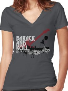 barack and roll Women's Fitted V-Neck T-Shirt