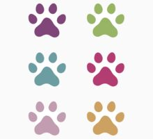 Colorful paw print stickers - purple, green, aqua blue, hot pink and orange by Mhea