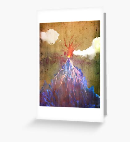 Abstract volcano eruption Greeting Card