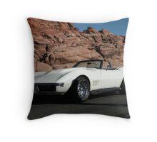 1968  Pearl White Corvette Throw Pillow