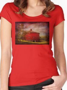 Farm - Barn - Red round barn  Women's Fitted Scoop T-Shirt