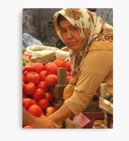 Tomato seller Canvas Print
