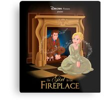 The Girl In The Fireplace Metal Print