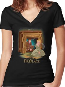 The Girl In The Fireplace Women's Fitted V-Neck T-Shirt