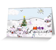 December in the Purple Village Greeting Card
