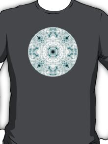"""""""Spirit of India: Two Crosses"""" in white and turquoise T-Shirt"""