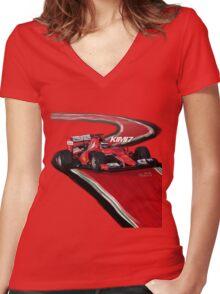 Ferrari SF15-T - Kimi7 Women's Fitted V-Neck T-Shirt