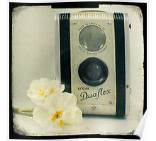 Floral Duaflex, vintage camera Poster