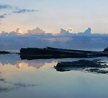 Avoca Rock shelf reflection by STEPHEN GEORGIOU PHOTOGRAPHY