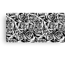 Pattern with black roses flowers.  Canvas Print
