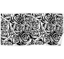 Pattern with black roses flowers.  Poster