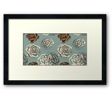 Vintage floral pattern with hand drawn roses Framed Print