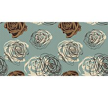 Vintage floral pattern with hand drawn roses Photographic Print
