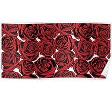 Pattern with red roses Poster