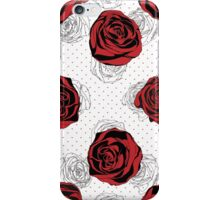 Floral Pattern. Rose Red Background iPhone Case/Skin