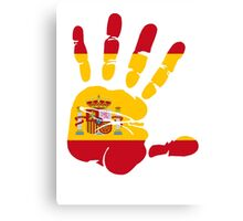 Spain flag in handprint Canvas Print