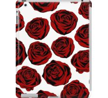 Pattern with red roses on white background.  iPad Case/Skin