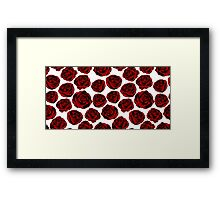 Pattern with red roses on white background.  Framed Print