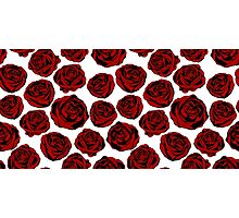 Pattern with red roses on white background.  Photographic Print