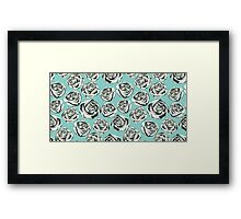 Retro floral pattern with hand drawn roses Framed Print