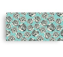 Retro floral pattern with hand drawn roses Canvas Print