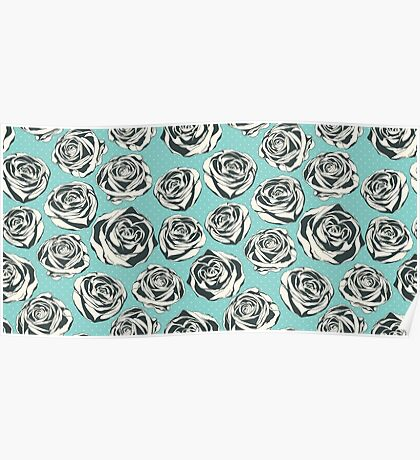 Retro floral pattern with hand drawn roses Poster