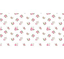 Cute vintage rose flower pattern on white background Photographic Print