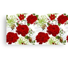 Beautiful red roses pattern on a white background. Canvas Print