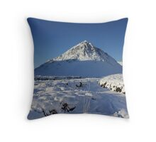 Winter Coat on Buachaille Etive Mor. Throw Pillow